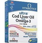 Ultra Cod liver oil plus Omega - 3 kapsulės N60