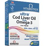 Maisto papildas Ultra Cod liver oil plus Omega - 3 kapsulės N60