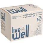 Maisto papildas LIVE WELL MAGNESIUM + Vitamin B6 tirpūs apelsinų skonio milteliai N30