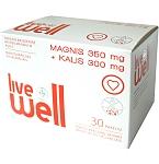 Maisto papildas LIVE WELL Magnis 350mg + Kalis 300mg tirpūs milteliai N30