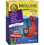 Maisto papildas Moller's Junior Omega - 3 braškių skonio kramtomos žuvelės N45,54g