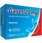 Gasec 20mg skrandyje neirios kietosios kapsulės N14 (lizdinė plokštelė)
