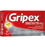 Gripex 500/30/15mg plėvele dengtos tabletės N10