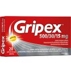Gripex 500/30/15mg plėvele dengtos tabletės N20