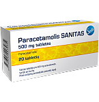 Paracetamolis SANITAS 500mg tabletės N20