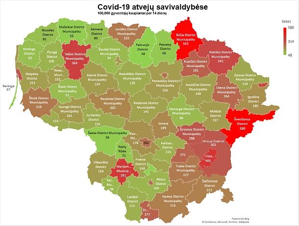 Covid-19 atvejai savivaldybėse